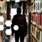 silhouette of person in library