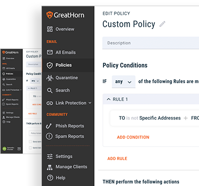 Custom Policy screen